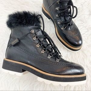 NWOB NAPOLEONI Fur Trim Lace Up Leather Ankle Boot